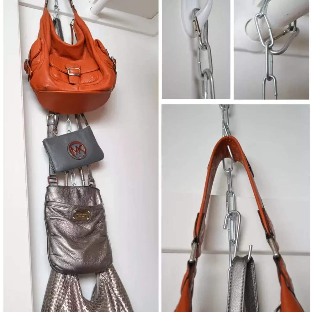 purses hanging from closet