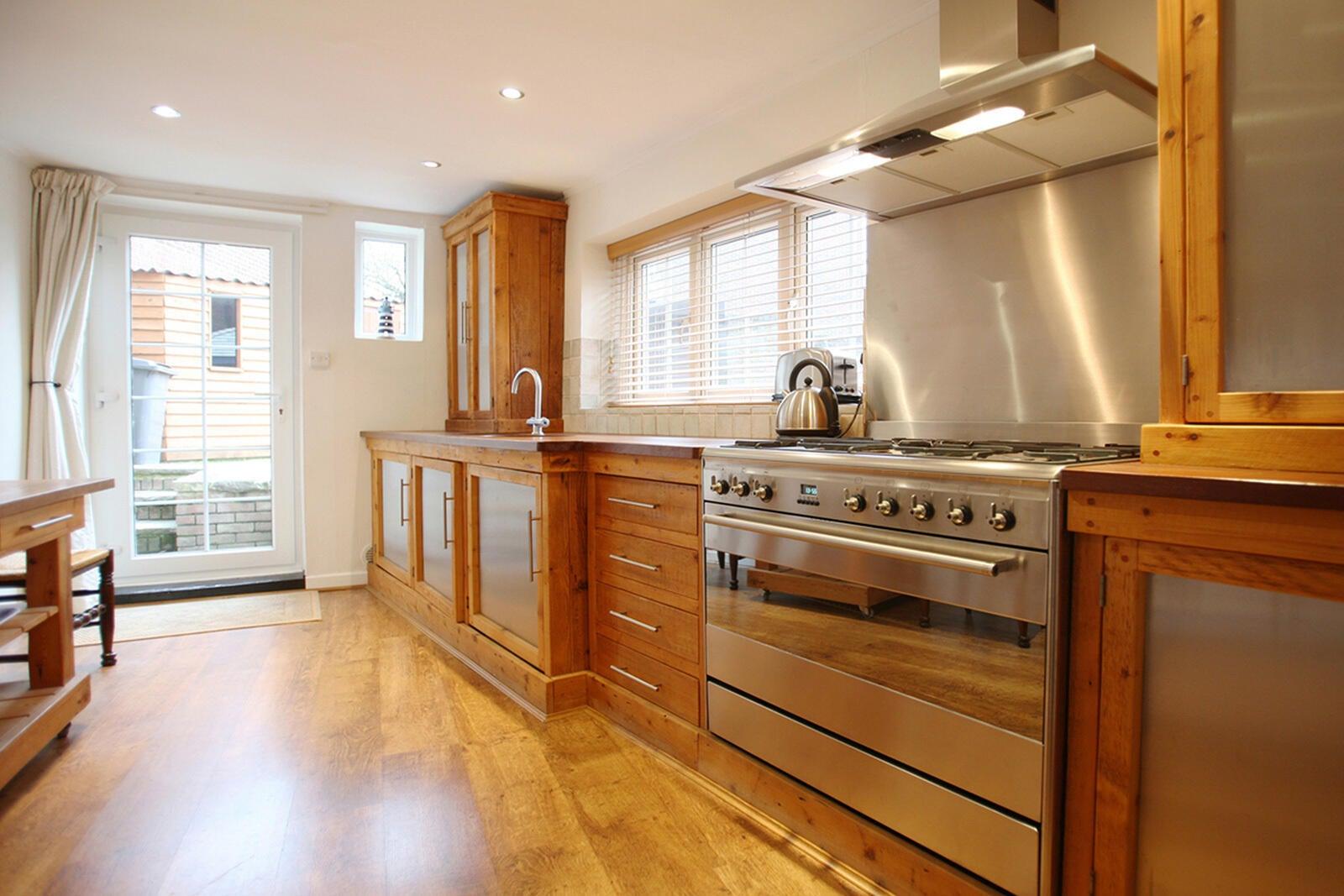 A range hood in a modern kitchen