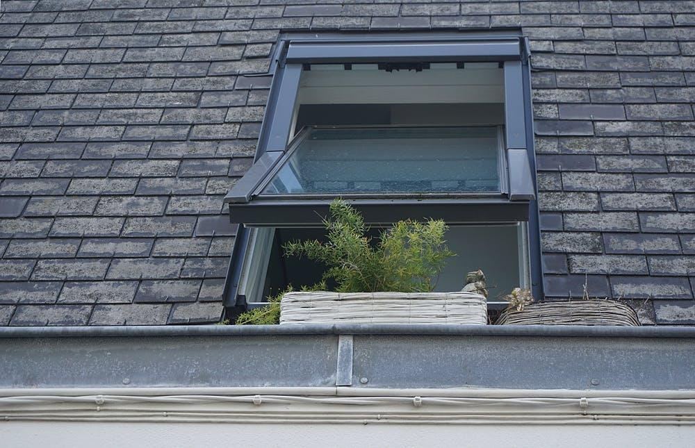 Skylight window on a house